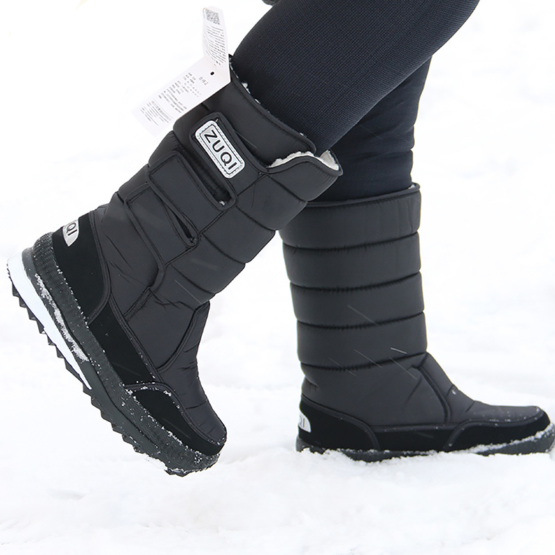 Snow-Boots Platform Warm-Shoes Black Waterproof Plus-Size Winter Mens Nylon Mid-Calf
