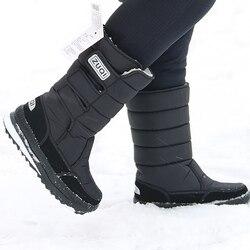 Plataforma homem botas de neve à prova dnylon água náilon plus tamanho 45-47 homens meados de bezerro botas plataforma de pelúcia sapatos quentes inverno preto