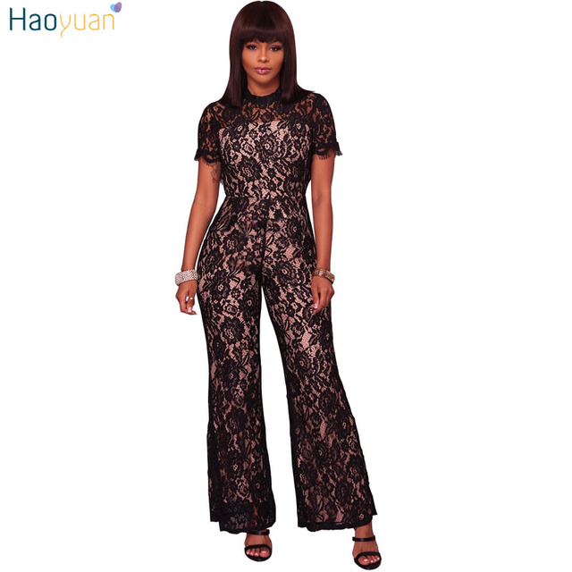 c1385b7c54e1 HAOYUAN Sexy Lace Rompers Womens Jumpsuit Overalls Short Sleeve Full  Bodysuit See Through Backless Elegant Wide Leg Jumpsuit