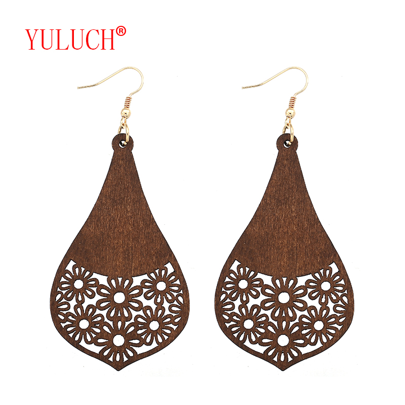 YULUCH New design retro African wooden irregular geometric openwork screen flower pendant for fashion woman jewelry earrings