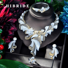 HIBRIDE Fashion Design Necklace Pendant Gold Color Luxury Women Jewelry Set For Bridal Party Accessories Jewelry Gifts N-925(China)
