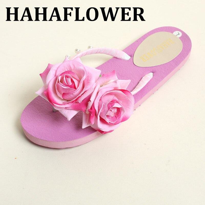 HAHAFLOWER Women's shoes woman sandals Bohemia summer sandal shoes Pink Rose flowers flat with beach shoes flip flop Hot sale