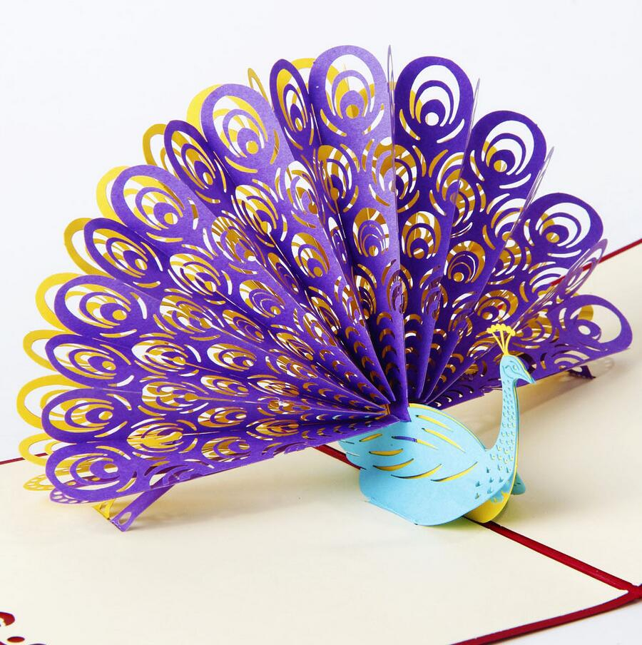 3D Pop Up Greeting Card Peacock Birthday Easter Anniversary – Mothers Day Invitation Cards