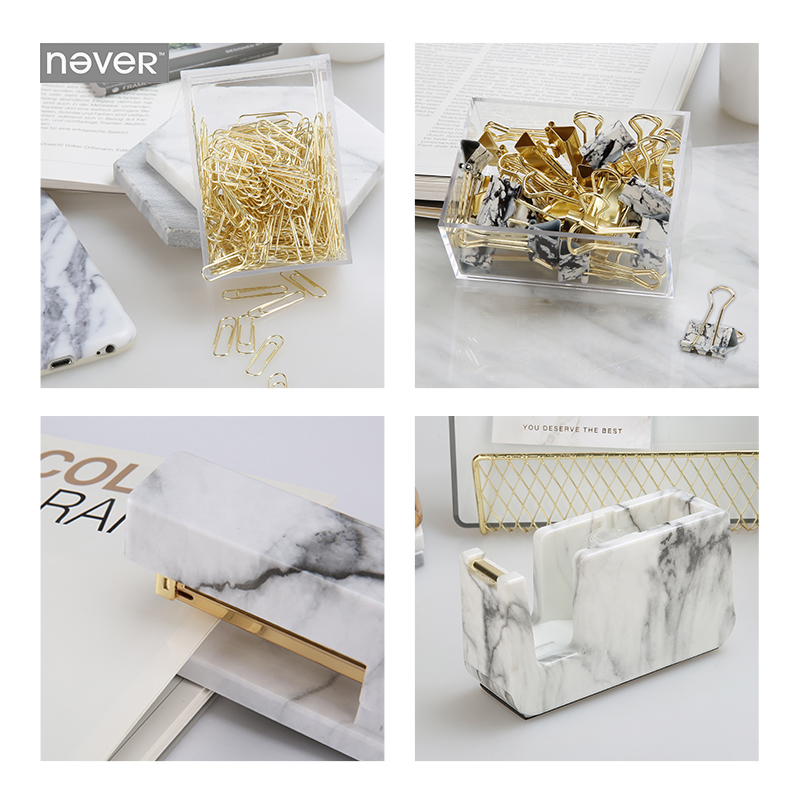 Free shipping Never Marble  Stationery Set Acrylic Stapler Tape Dispenser Paper Clip Binder Clips School Supplies luxury rose gold manual stapler with 1000pcs staples acrylic 24 6 paper stapler office accessories binder stationary set