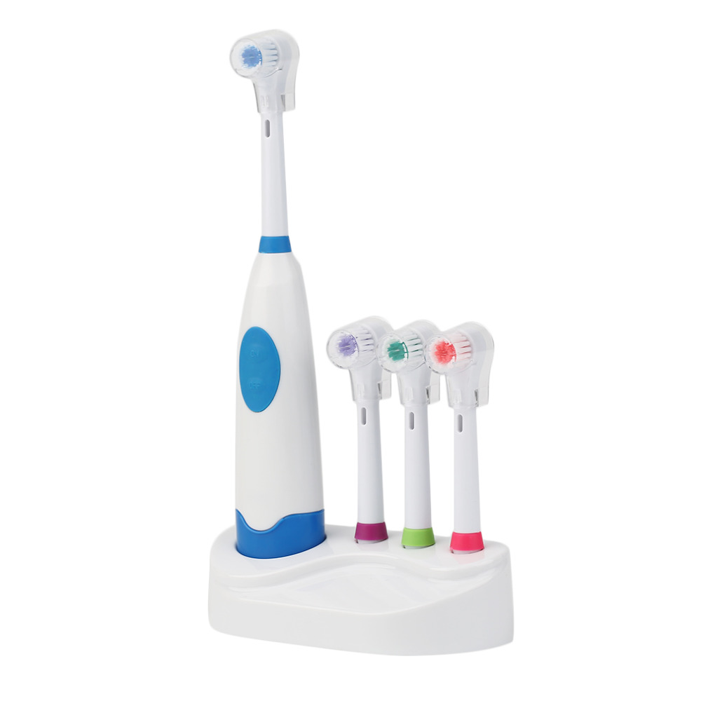 (4 Brush Heads) Electric Toothbrush With Battery Operated Teeth Brush Oral Waterproof Soft Electric Teeth Whitener Hygiene 1 Set
