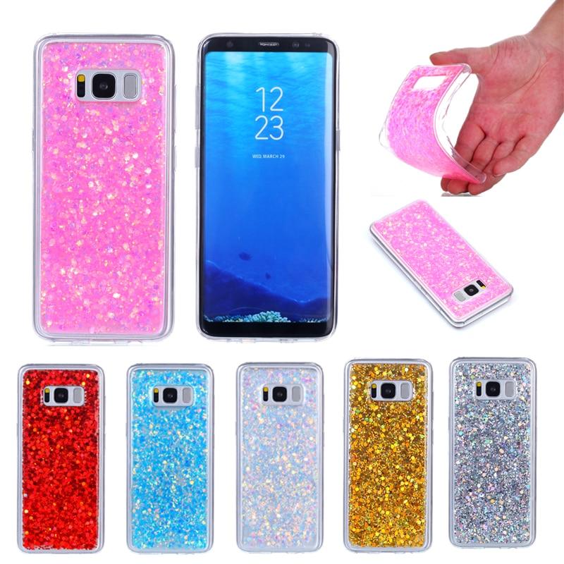 Para samsung galaxy s 8 s8 g9500 caso colorido brilhante glitter silicone tpu gel macio voltar capa para samsung galaxy s8 g950 5.8