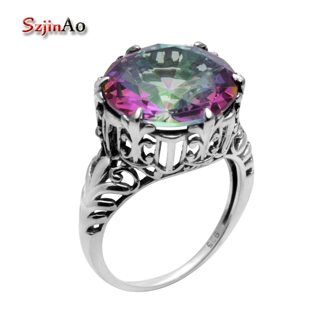 rainbow women concave wesupplies jewelry topaz sterling fire shipping stone mystic cocktail accessory silver fashion rings gem products free luxury solid pure genuine ring jewellery