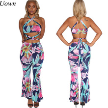 2017 New Women Two Piece Outfits Crop Top and Sportwear Pants Set Ladies Casual Strapless Fitness Suit Summer Women Set Femme