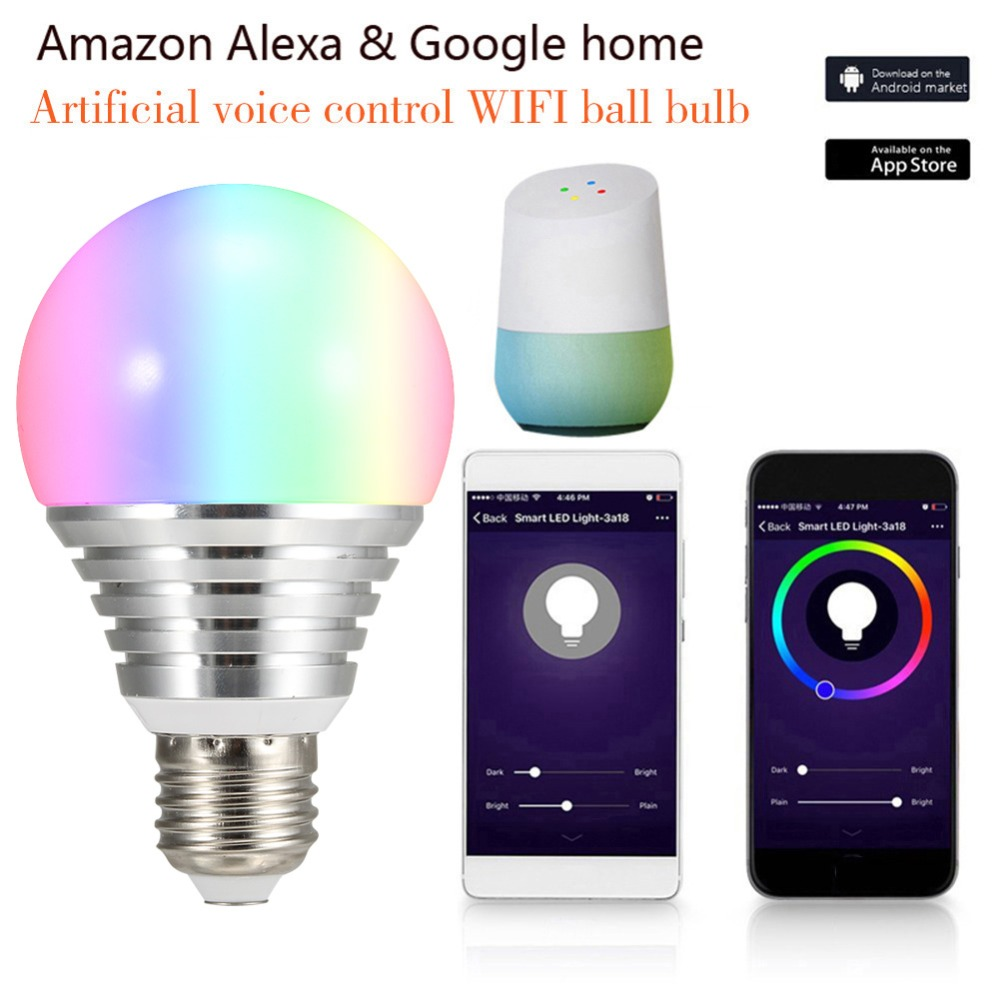 New E27 WiFi Smart Light Bulb Dimmable/Multicolor/Wake Up Lights RGBCW LED Lamp Compatible with Alexa and Google Home LED Bulb