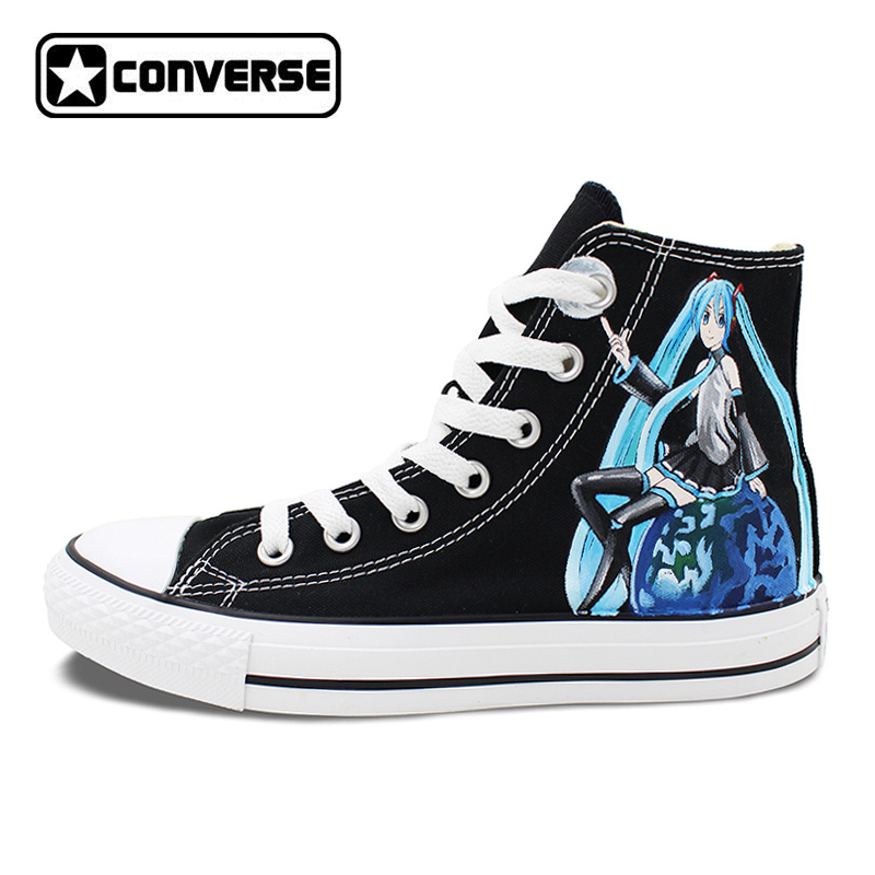 Women Men Converse All Star Canvas Shoes VOCALOID Hatsune MIKU EXPO Design Hand Painted Sneakers Skateboarding Shoes Gifts