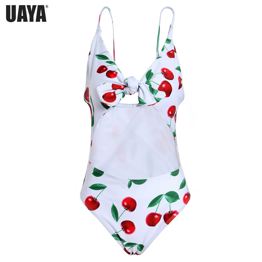 Sexy Waist hollow One Piece Swimsuit Women 2019 Summer Beachwear Bow print Adjustable Swimwear Bathing Suits Monokini Swimsuit in Body Suits from Sports Entertainment
