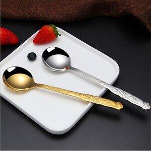 1 шт., ложка из нержавеющей стали, креативная длинная ручка, ложка для мороженого, корейский стиль, ложка для мороженого, рисовая ложка, высок...