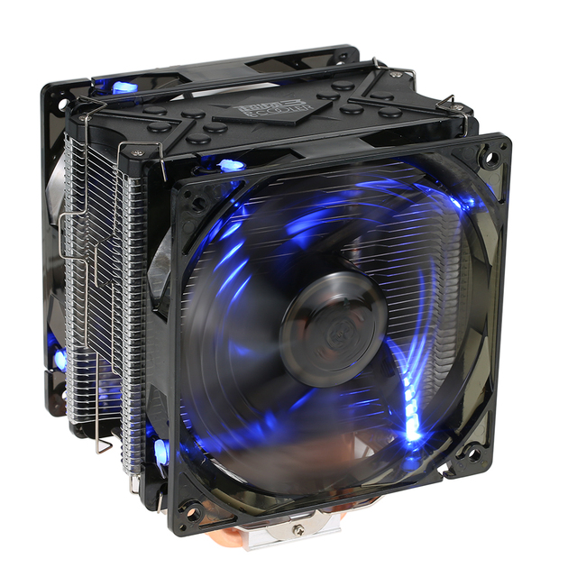 US $38 15 34% OFF|PCCOOLER Fans 5 Heatpipes Radiator Quiet 4pin CPU Cooler  Heatsink Fan Cooling with Dual 120mm LED Fans for Desktop Computer-in Fans
