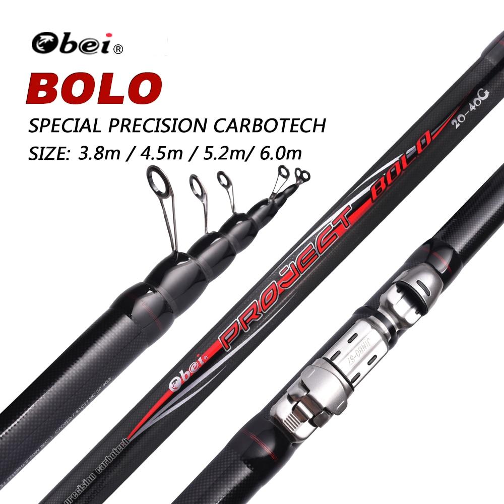 Obei 99% Carbon Fiber Telescopic Fishing Rod 3.8-6m 90cm Short Sea Rods Telescopic Fishing Rod Spinning black Fishing bolo rod