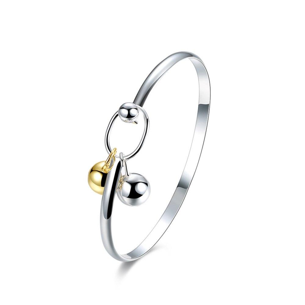 2018 novo 925 prata esterlina jóias sino dourado encantos pingente bola fechar completa bangle bracelet cuff para as mulheres pulseras mujer
