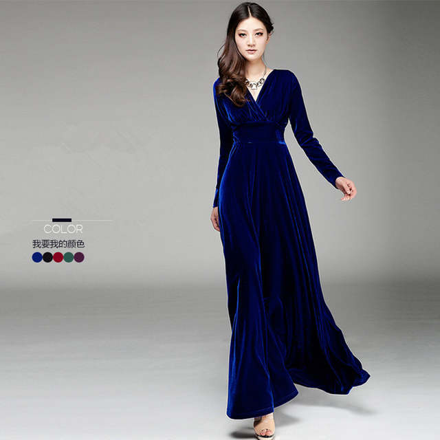fa8ce9e0c87 Online Shop Free Shipping New Fashion Plus Size S-3XL Stretch Velour Dresses  For Women Long Maxi One-piece Dress Spring Autumn Velvet V-neck