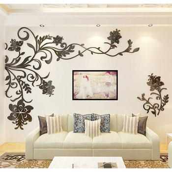 European Style 3D Flower Tree Wall Sticker Living Room Decorative Decals Home Art Decor Poster Solid Acrylic Wallpaper Stickers 9