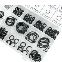 Conjunto de caixa de reparo anel o-ring  225 pçs/lote  conjunto de anel de borracha preta  resistência ao desgaste e boa elasticidade preto borracha