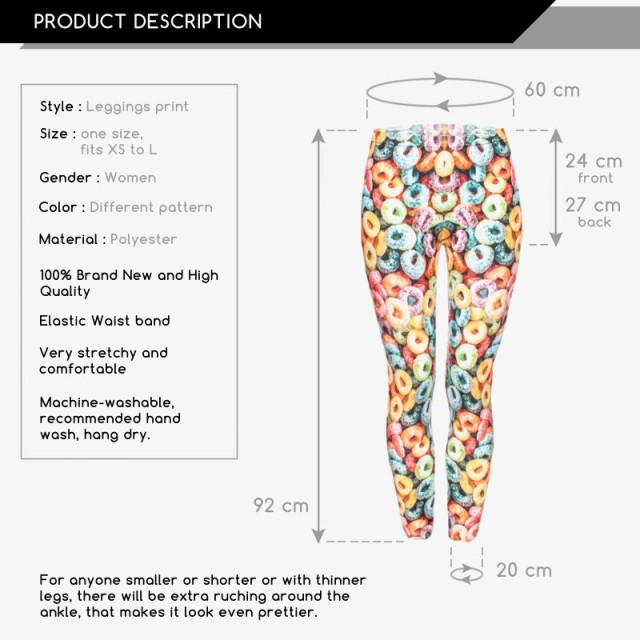 2017 Funny Basic Leggings  Women Girls 3D Colorful Loops Printed  Legging Pant