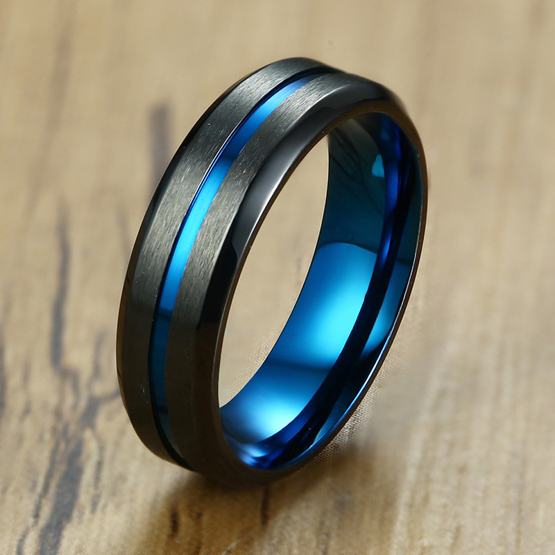 APL 2018 Limited Promotion Fashion Geometry Stainless Steel Drawn 6MM Men 39 s Wedding Ring in Rings from Jewelry amp Accessories