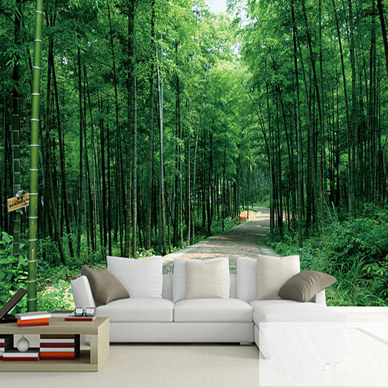 Custom mural wallpaper 3d pastoral landscape bamboo forest for Bamboo forest mural