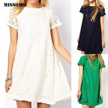 MISSOMO summer dress Women Plus size 5XL Solid Short Sleeve O-Neck Lace Hollow out Dress robe femme vestidos(China)