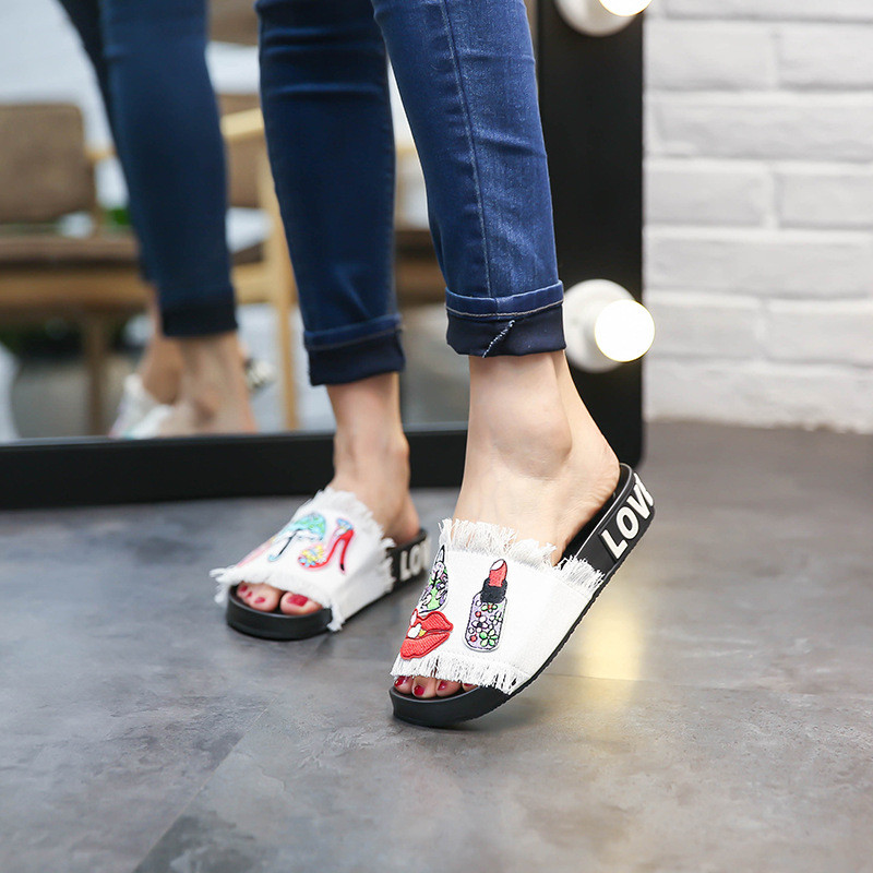 Home slippers for Women Summer Basic Shoes Denim Appliques with Lipstick Shoes Slippers Fashion Comfortable Flat With Slippers children parents boys girls cartoon bathroom slippers summer women home slippers lovers slides flat with indoor fashion new