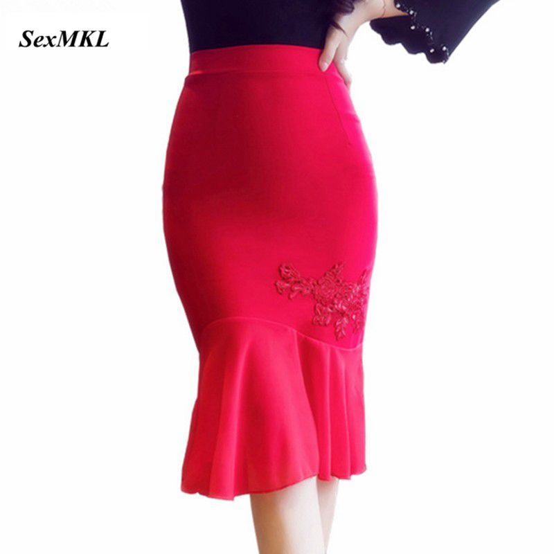 Women Red Skirts 2019 Autumn Elegant Sexy High Waist Skirt Elastic Slim Office Ladies Formal Winter Black Pencil Skirt Plus Size