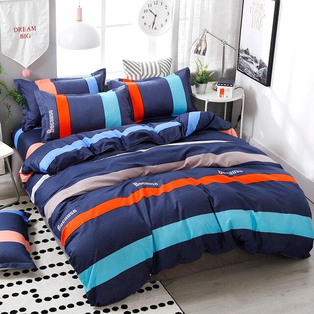 4 cái/bộ Phong Cách Ngắn Gọn Sọc In Ấn Thoải Mái Bộ Đồ Giường Đặt Giường Lót Duvet Cover Tấm Ga Trải Giường Gối