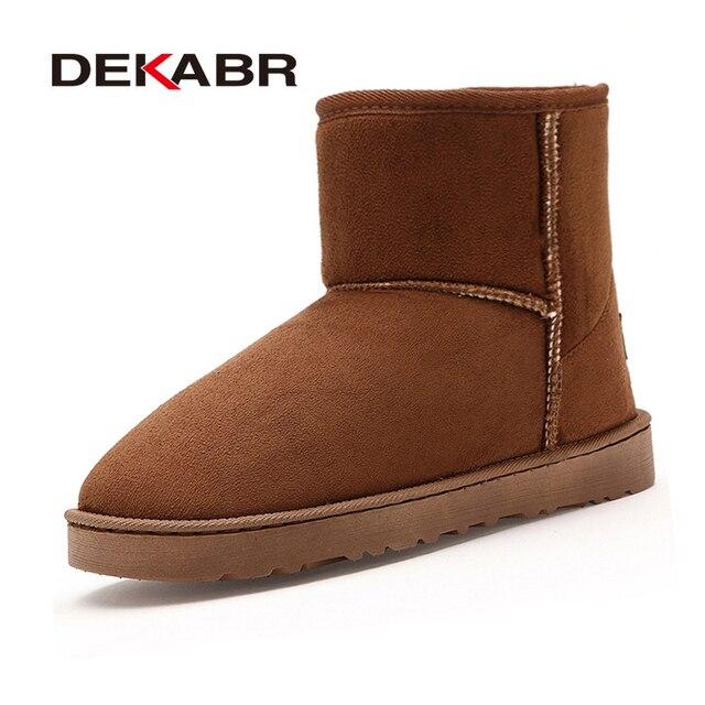 DEKABR marca de piel de invierno cómoda bota de nieve Unisex de moda Zapatos de gamuza mujer 2019 nuevo botas para mujer grande tamaño 36 ~ 45