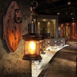 Led e27 Loft przemysłowe żelaza drewna szkła doprowadziły lampa LED światła kinkiet ściany światło kinkiet ścienny do Bar sklep przedpokój sypialnia