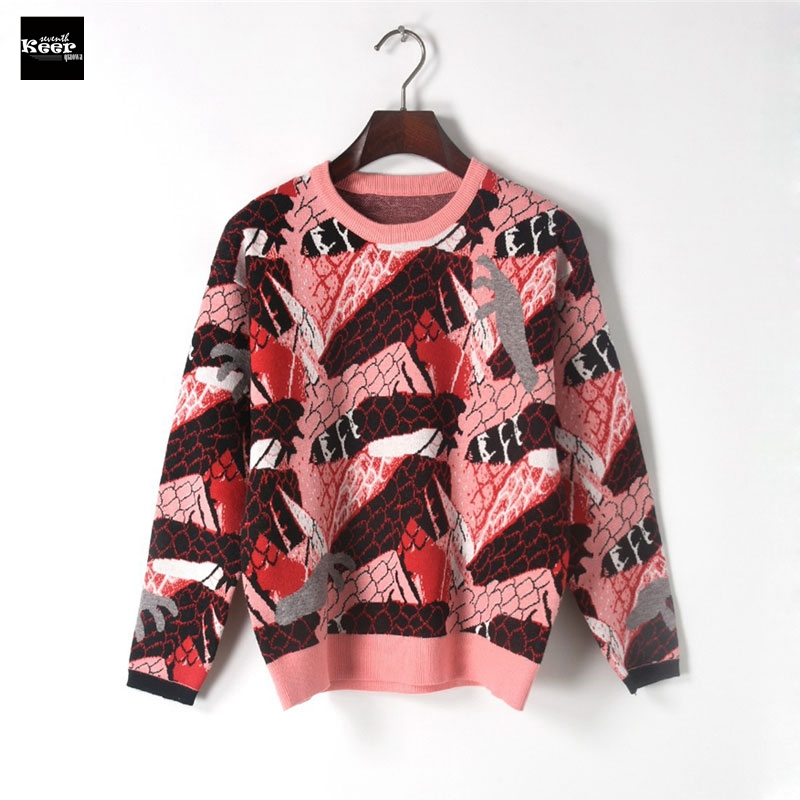 2018 New Fashion Sweater Female Pullovers Color Block Winter Spring Basic Knitted Sweaters Pullover Runway Designer Tops Jumper