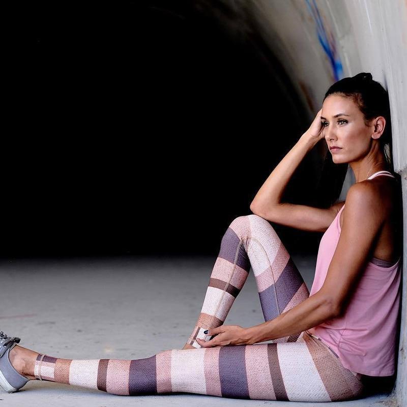 ESHINES Yoga Pants Fitness Women Printing Sports Leggings Running Tights Breathable Quick Dry Sportswear  Dropship
