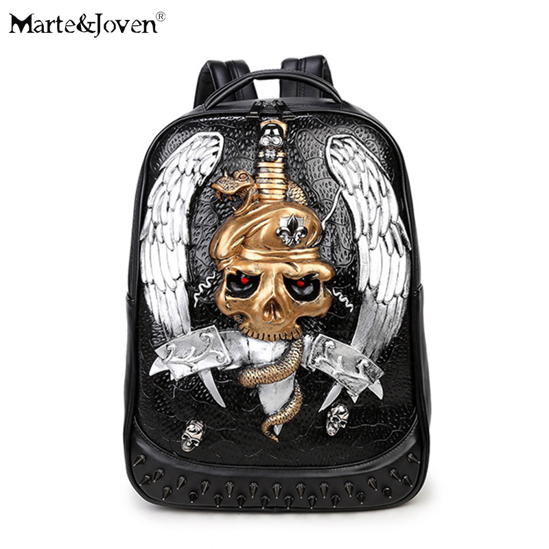 Newest Vintage Punk Style Black School Backpack Women Men Personalized Rivet 3D Skull Knapsack Cool Angel Wings Laptop Backpack