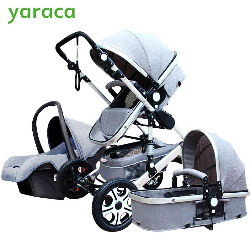 Роскошная детская коляска 3 в 1 с автокреслом с высоким ландшафтом складная детская коляска для новорожденных дорожная система детская теле...