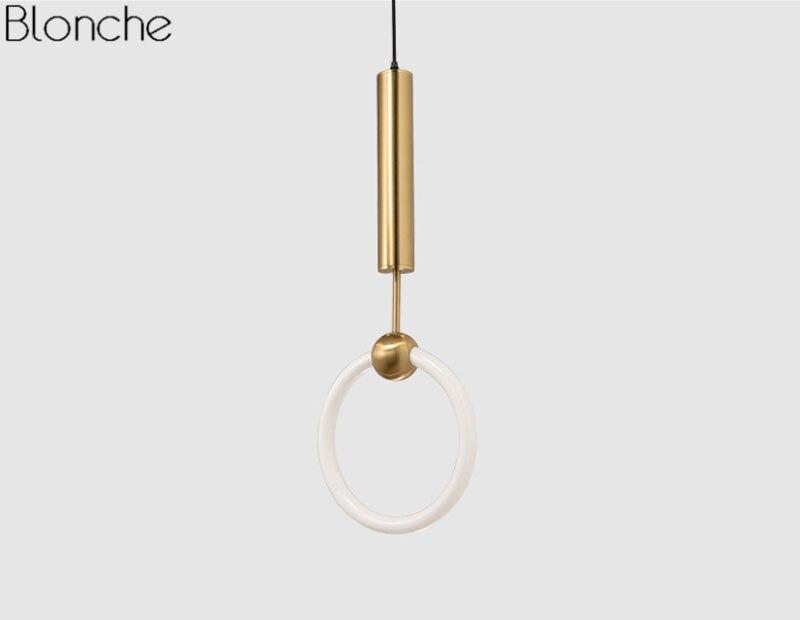 Círculo Anel de Ouro Pendurado Lâmpada para