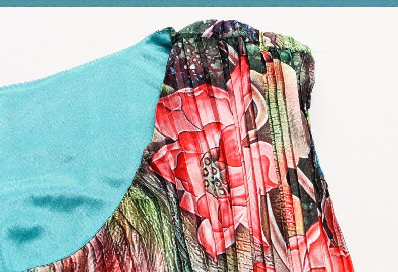 Mignon grande taille robes d'été femmes émeraude grande taille 6xl Rinkled plissée Satin robe à fleurs vert longue robe Maxi Vestido Largo - 3