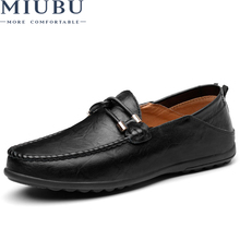 MIUBU 2019 New Arrival Men Loafers Shoes Slip on Mesh Leather Soft Comfortable Driving Flats Big Size