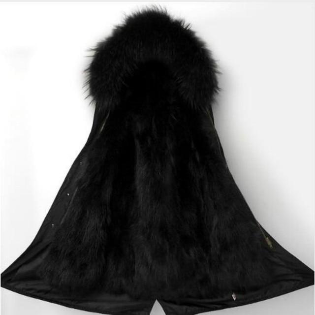 Big Sale Women Raccoon Fur Hooded Coat Real Fur Parkas Plus size Outwear Long Detachable Winter Jacket