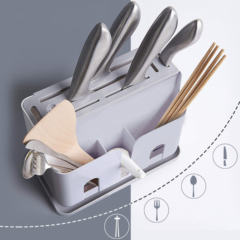 Knife Holder Plastic Multi-function Draining Sink Box Spoons Kitchen Knives Forks Chopsticks Shelf Utensil Organizer Knife Block