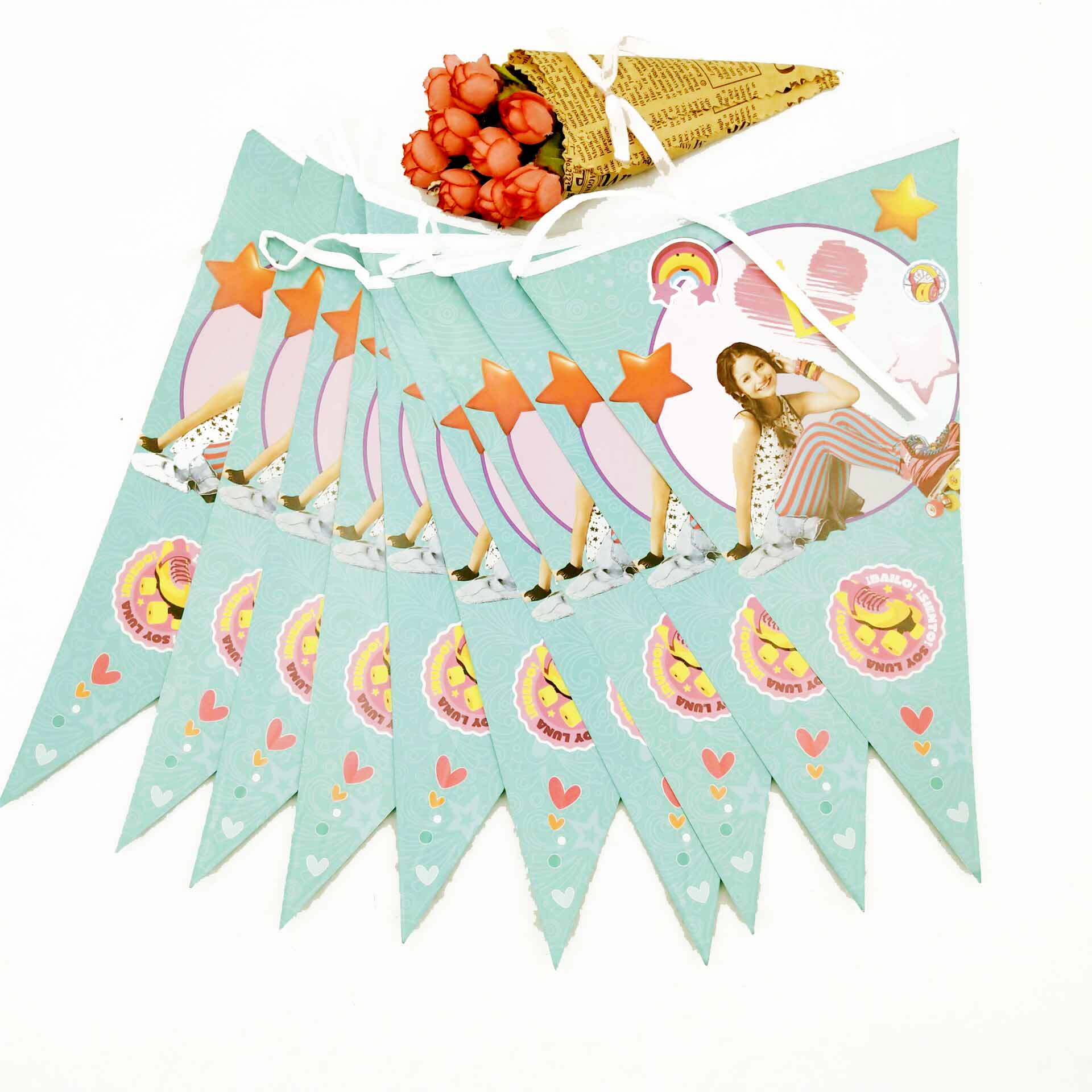 2.5m/set Kids Birthday Party Supplies Luna paper flags Party Pennant Bunting Birthday Flag Banners Girls Event Party Supplies