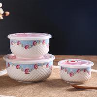 TPFOCUS 3Pcs Set Bowl Large Medium Small Size Preservation Bowls Set carton microwave oven Healthy ceramic Bowl 2019