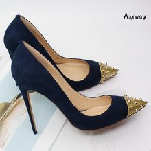 Aiyoway Women Shoes Ladies Pointed Toe Rivets High Heels Pumps Autumn Spring Party Clubwear Dress Shoes Slip-On Red Dark Blue hot spring 2017 new british style fashion women white blue jeans embroidery flower rivets slip on wedge pumps casual shoes