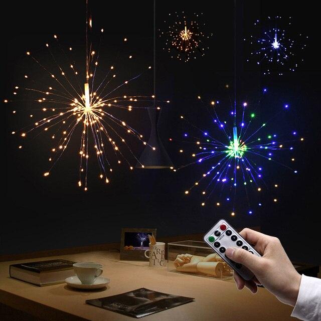 Battery Operated Firework Shapes Garlands Decoration Led Fairy Light Usb Remote Diy Handmade Chandelier Fireworks