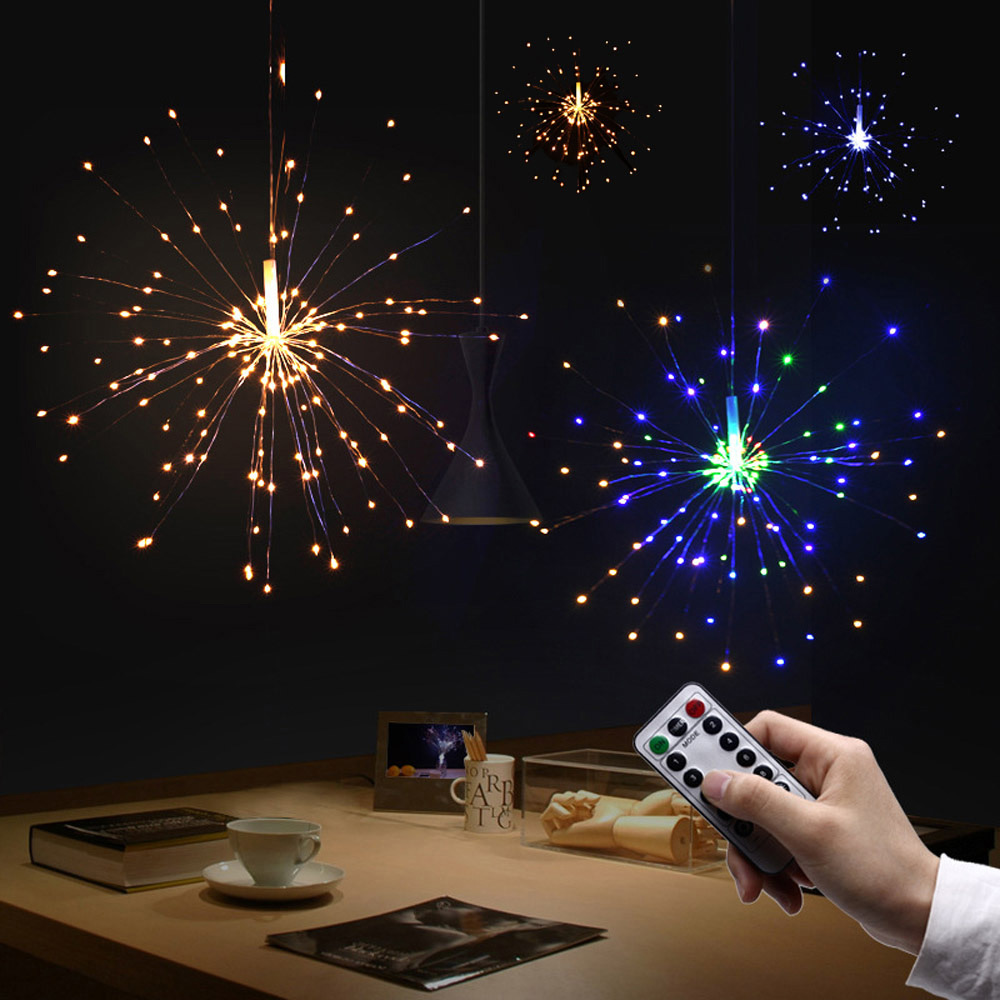 Funzionamento A batteria di Fuochi D'artificio Forme Ghirlande Di Natale Della Decorazione LED Luce Fata USB A Distanza FAI DA TE Fatti A Mano Lampadario Fuochi D'artificio