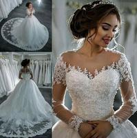 Vestidos De Noiva 2019 элегантный трапециевидной формы с длинным рукавом свадебное платье прозрачная ткань с аппликацией и стразами принцессы круже