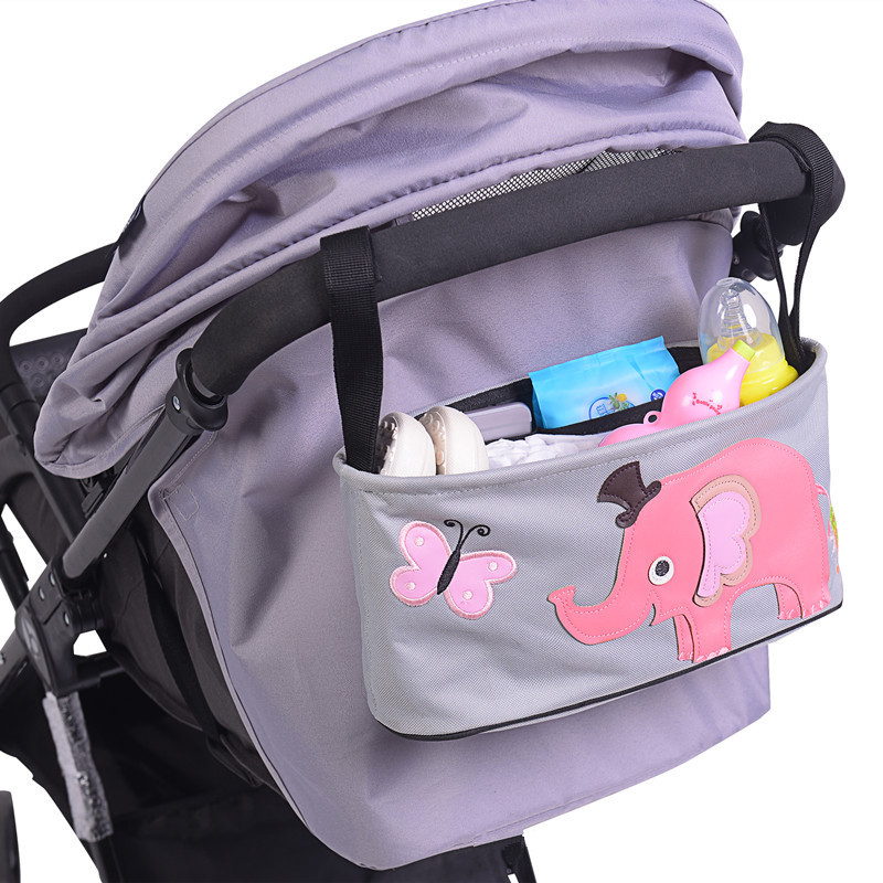 Cartoon Baby Stroller Hanging Basket Storage Bag for Pram Travel Waterproof Nappy Bags Water Bottle Diaper Storage Nursing Bags