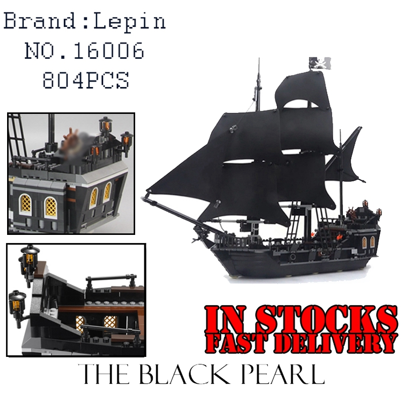 LEPIN 16006 804pcs Pirate ship Pirates of the Caribbean The Black Pearl Building Blocks toys for children Gifts 4184 brinquedos kazi 1184pcs pirates of the caribbean black general black pearl ship model building blocks toys compatible with lepin