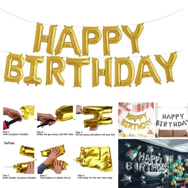 """С днем рождения воздушные шары плакат """"с днем рождения"""" воздушный шар Модный золотой серебряный 13 букв праздничное мероприятие дети взрослый"""