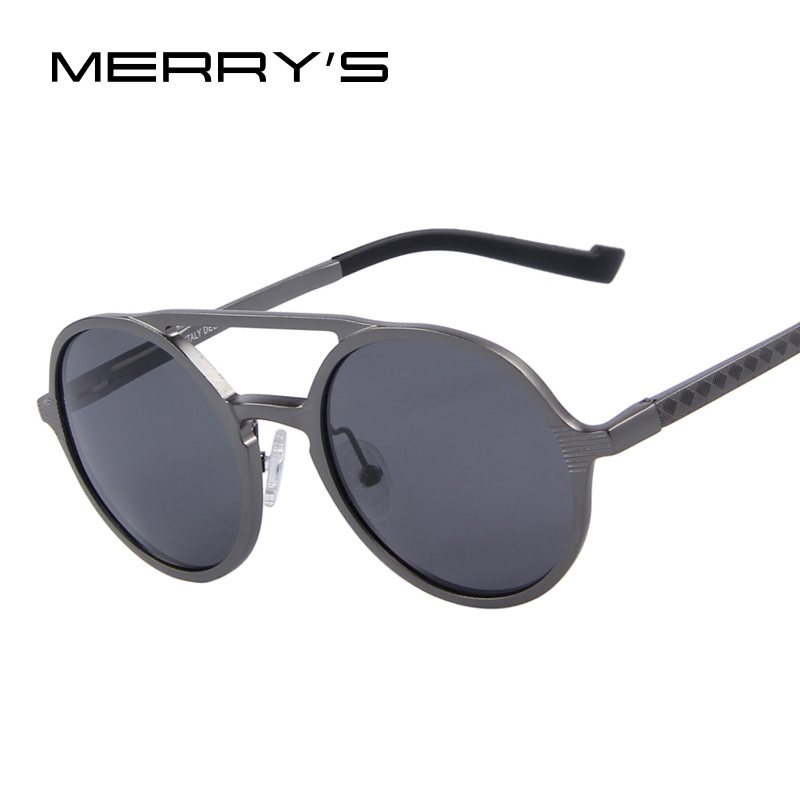 MERRY'S Fashion Men Round Polarized Sunglasses Retro Aluminum Frame Women Sunglasses Oculos de sol UV400